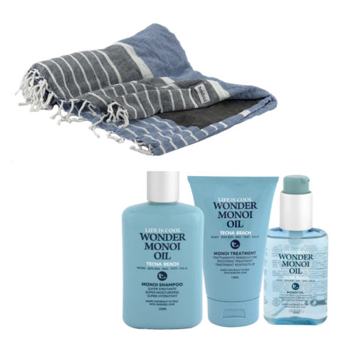 Tecna Beach Wonder Monoi kit Shampoo 250ml Treatment 150ml Oil 100ml + serviette de plage gratuite Baldinini