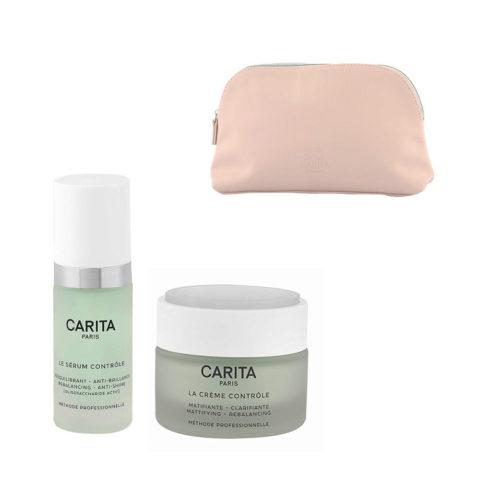 Carita Skincare Ideal Controle Kit Serum 30ml Creme 50ml - sérum et crème visage effet mat - pochette cadeau