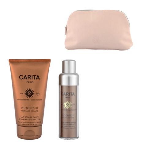 Carita Progressif Anti-Age Solaire Kit Crème Visage Anti-rides 50ml Lait Corps Protecteur 150ml - pochette cadeau