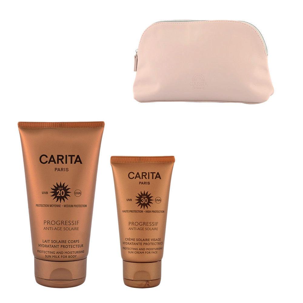 Carita Progressif Anti-Age Solaire Hydratant Protecteur Kit Crème Visage 50ml Lait Corps 150ml - pochette cadeau