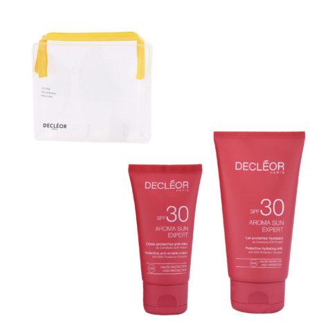 Decléor Aroma Sun Kit Protecteur Crème Anti-rides SPF30 50ml Lait Hydratant SPF30 150ml - pochette cadeau