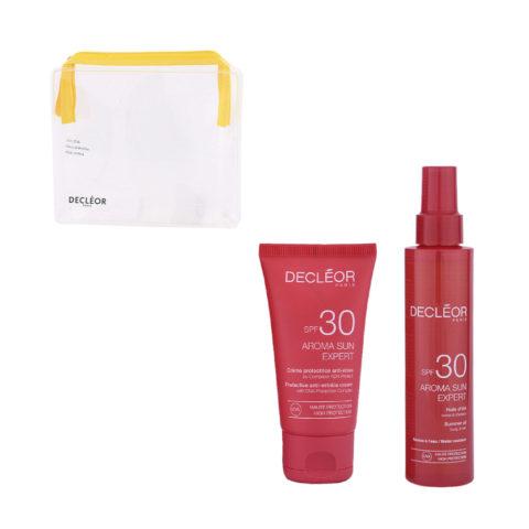 Decléor Aroma Sun Kit Protecteur Crème Anti-rides SPF30 50ml Huile d'été corps et cheveux SPF30 150ml - pochette cadeau