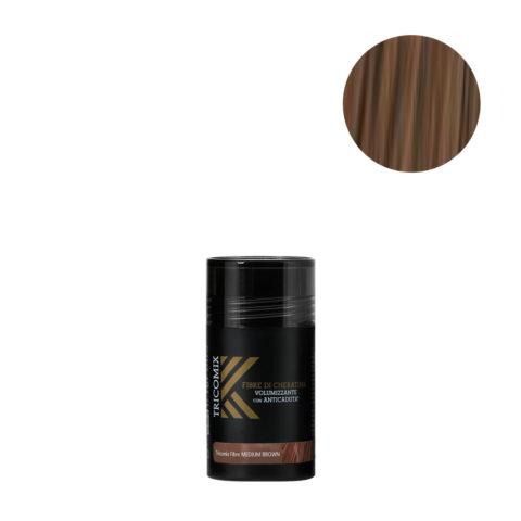 Tricomix Fibre Medium Brown 12gr - Fibres De Kératine Avec Effet Volumateur Et Antichute Châtain Moyen