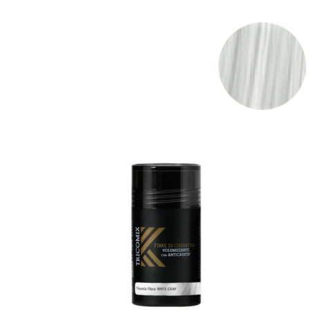 Tricomix Fibre White Gray 12gr - Fibres De Kératine Avec Effet Volumateur Et Antichute Gris Moyen / Blanc