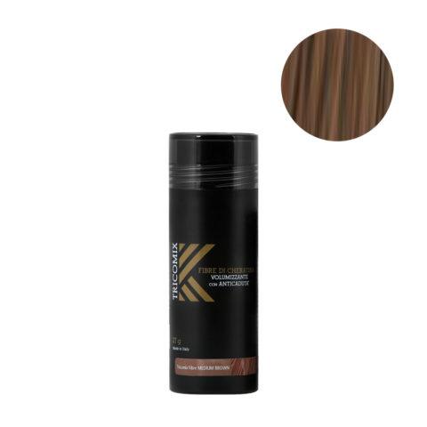 Tricomix Fibre Medium Brown 27gr - Fibres De Kératine Avec Effet Volumateur Et Antichute Châtain Moyen