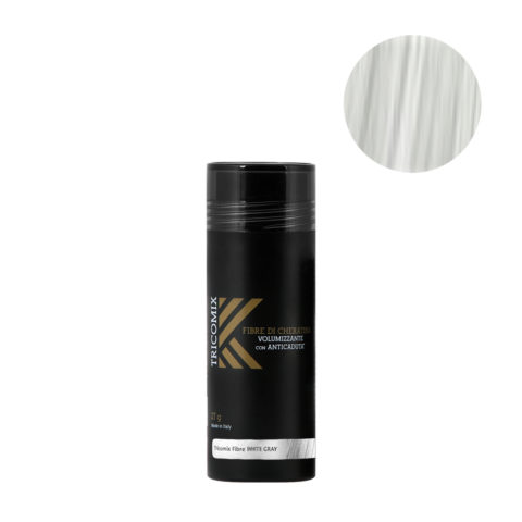 Tricomix Fibre White Gray 27gr - Fibres De Kératine Avec Effet Volumateur Et Antichute Gris Moyen / Blanc