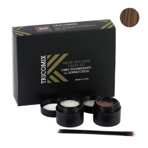 Tricomix Brow Medium Brown 1,2g + 2g - Fibres Volumisantes Pour Sourcils - Châtain moyen
