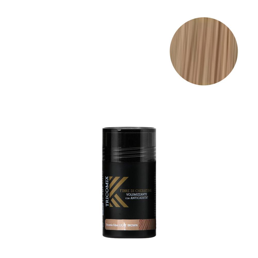 Tricomix Fibre Light Brown 12gr - Fibres De Kératine Avec Effet Volumateur Et Antichute Châtain Clair
