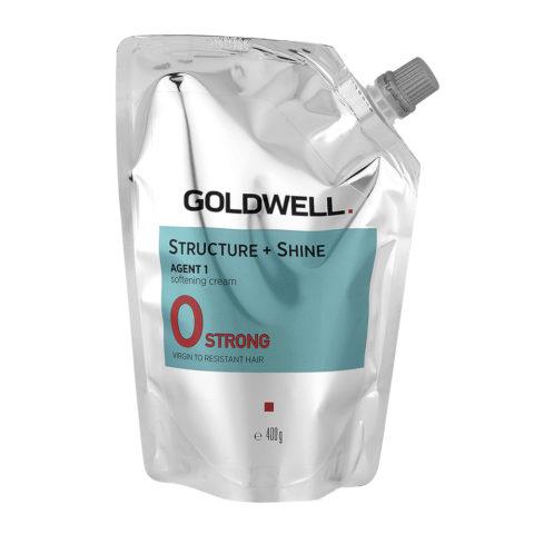 Goldwell Structure + Shine Agent 1 Softening Cream 0 Strong 400gr - Défrisage Pour Cheveux Résistants