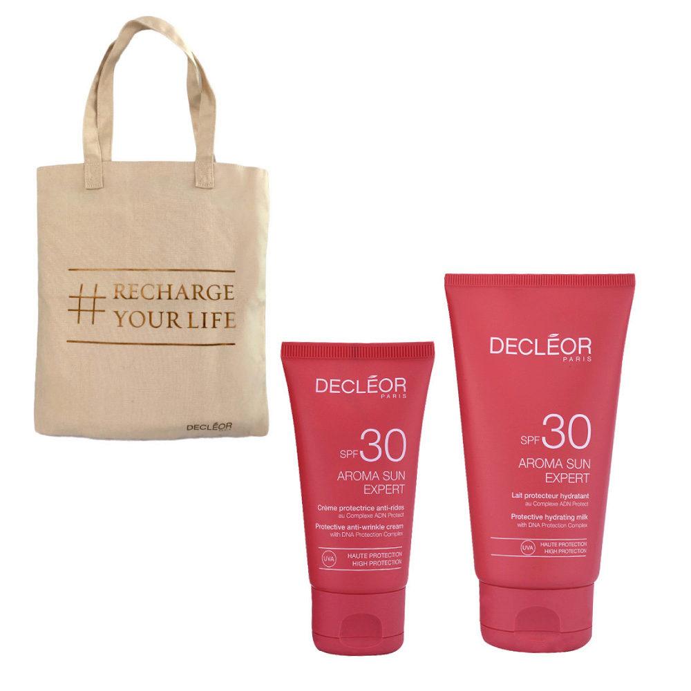 Decléor Aroma Sun Kit Protecteur Crème Anti-rides SPF30 50ml Lait Hydratant SPF30 150ml - pochette sac