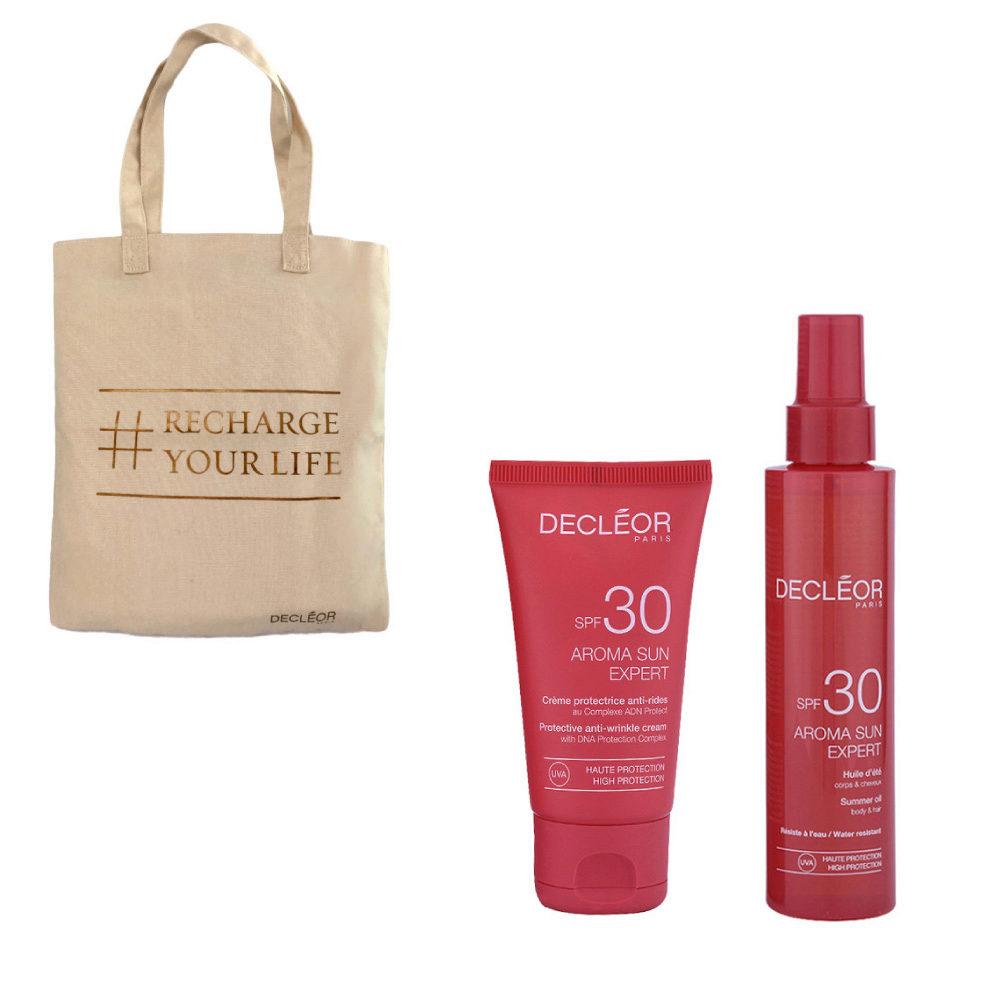 Decléor Aroma Sun Kit Protecteur Crème Anti-rides SPF30 50ml Huile d'été corps et cheveux SPF30 150ml - sac cadeau