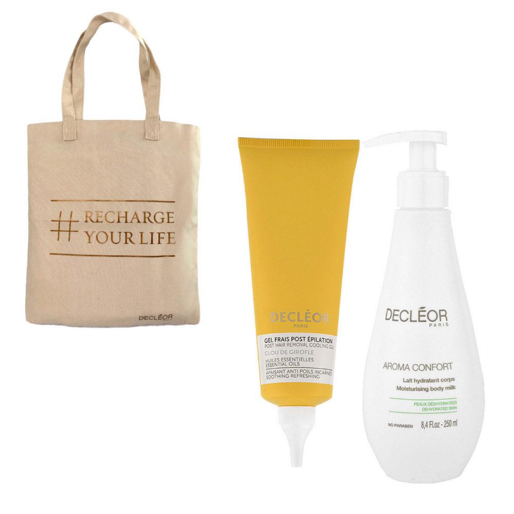 Decléor Bodycare Kit Post Hair Removal Cooling gel Clove 125ml Lait Hydratant 250ml - sac cadeau