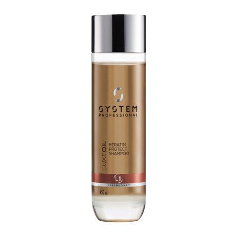 System Professional LuxeOil Shampoo L1, 250ml - Shampooing à la Kératine pour Cheveux Abîmés
