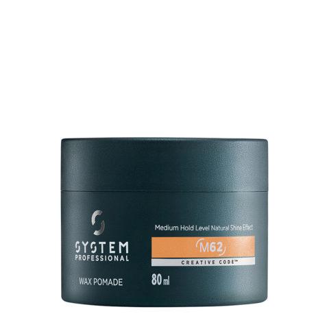 System Professional Man Wax Pomade M62, 80ml - Cire brillante à tenue moyenne
