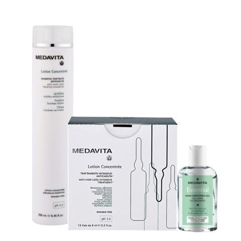 Medavita Cute Lotion concentree Shampoo 250ml Traitement intensif 13x6ml Gel désinfectant pour les mains 100ml