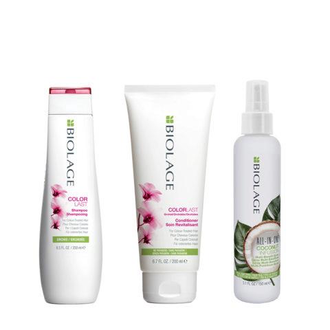Biolage Colorlast Shampoo 250ml Conditioner 200ml e All In One Coconut Spray 150ml