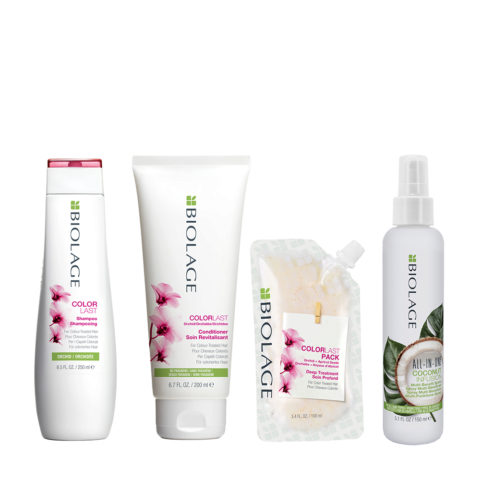 Biolage Colorlast Shampoo 250ml Conditioner 200ml Pack 100ml e All In One Coconut Spray 150ml