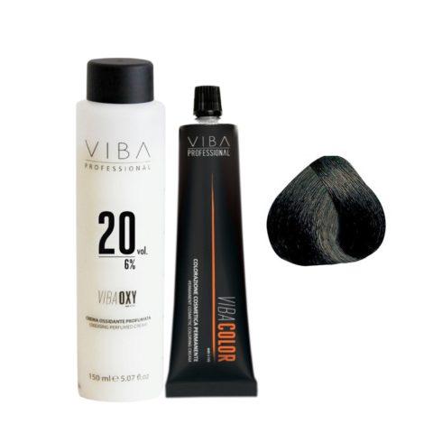 Viba Professional Kit Color 1.11 Black Blu and Developer 20 vol