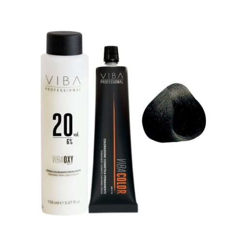 Viba Professional Kit Color 1 Black and Developer 20 vol