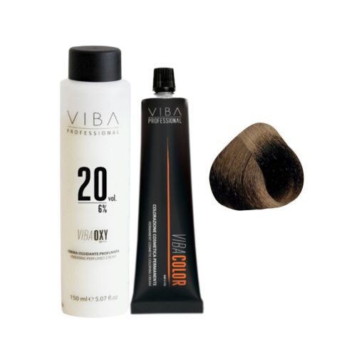 Viba Professional Kit Color 4 Medium Brown and Developer 20 vol