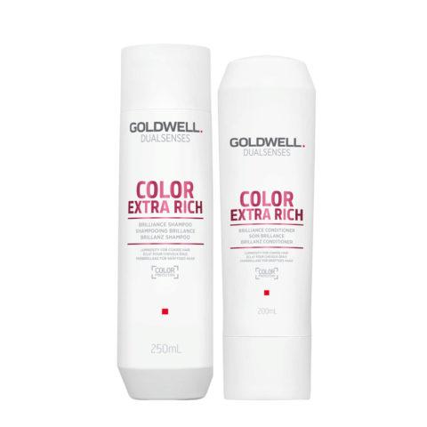 Goldwell Dualsenses Color Extra Rich Brilliance Shampooing 250ml et Apres Shampooing 200ml cheveux colorès gros