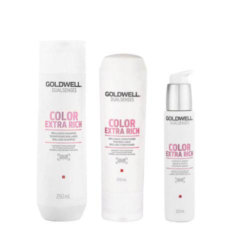 Goldwell Dualsenses Color Extra Rich Brilliance Shampooing 250ml Apres Shampooing 200ml Serum 100ml cheveux colorès gros