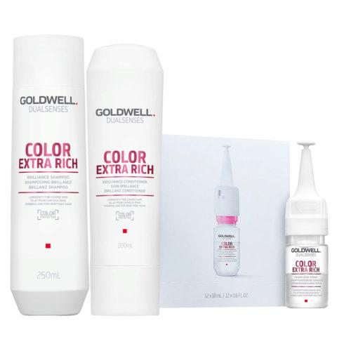 Goldwell Dualsenses Color Extra Rich Brilliance Shampooing 250ml Apres Shampooing 200ml Serum 12x18m colorès gros