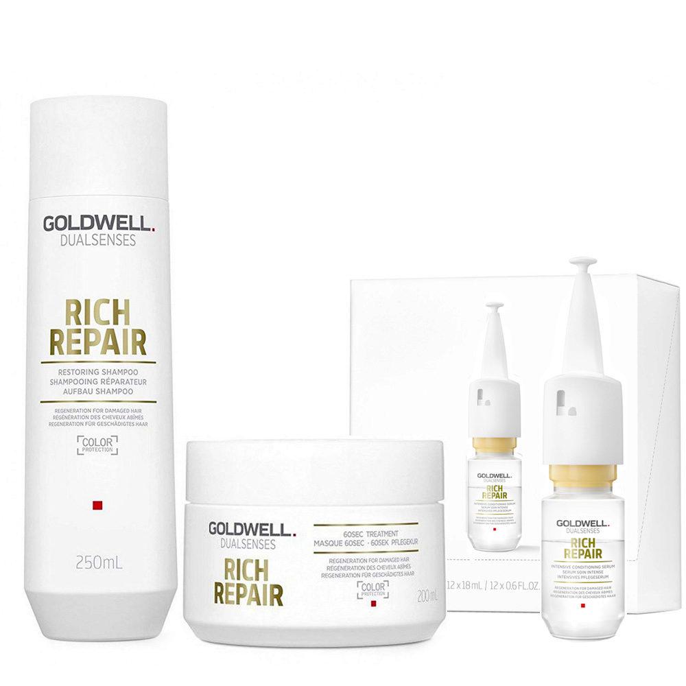 Goldwell rich repair Shampoo 250ml Mask 200ml Serum 12x18ml