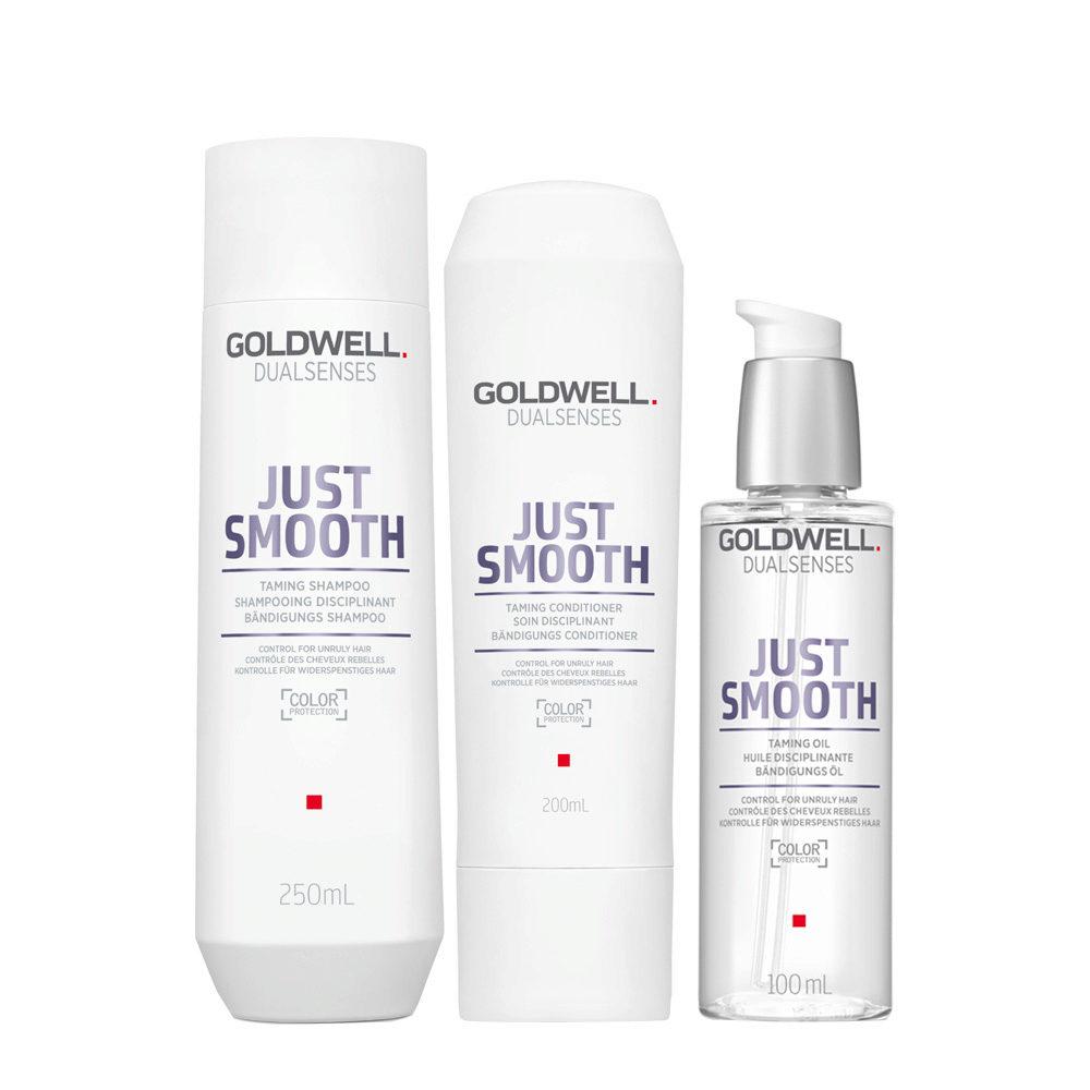 Goldwell Dualsenses Just Smooth Shampooing Disciplinant 250ml Apres-shampooing 200ml Huile Disciplinante 100ml