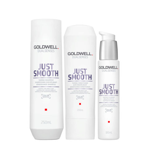 Goldwell Dualsenses Just Smooth Shampooing Disciplinant 250ml Apres-shampooing 200ml Serum 100ml