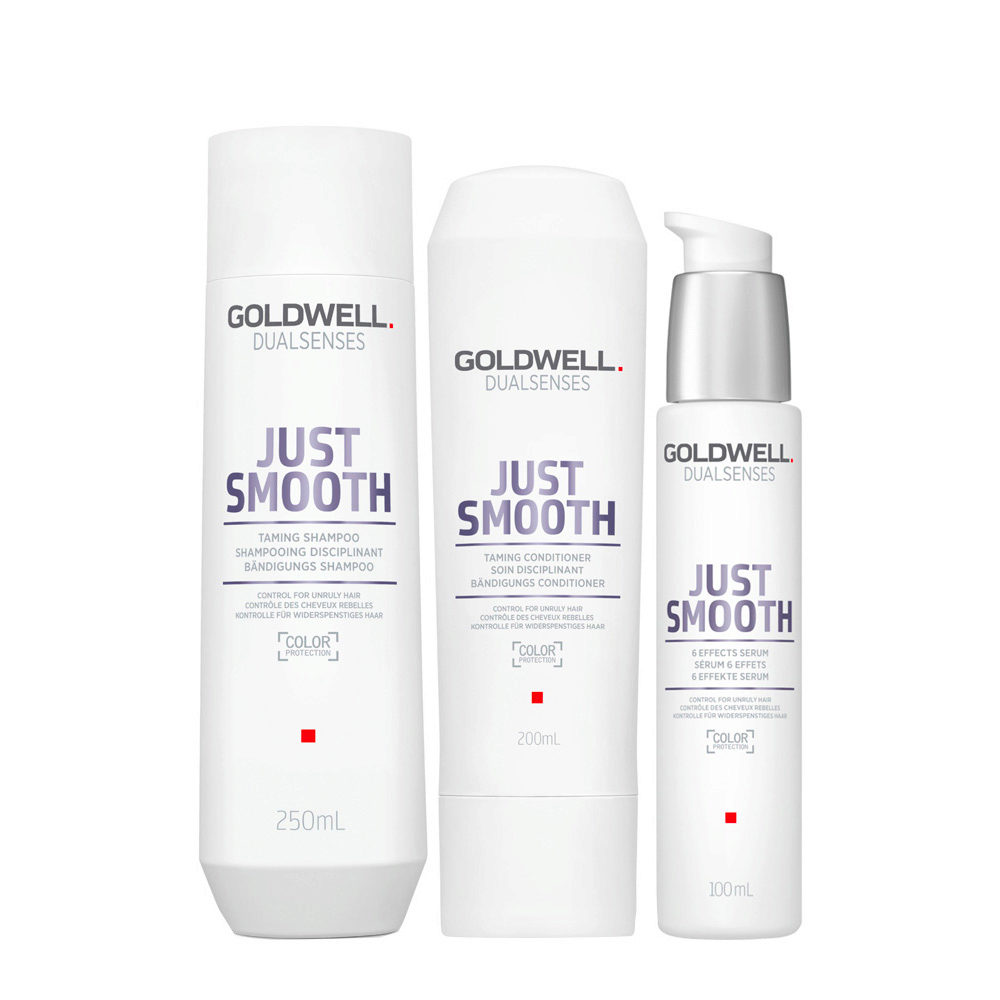 Goldwell Dualsenses Just Smooth Shampooing Disciplinant 250ml Apres-shampooing 200ml Serum 100ml