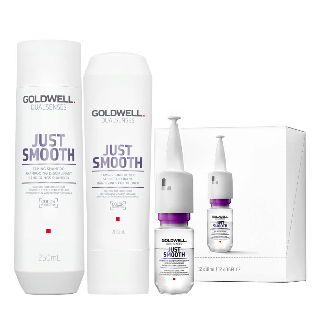 Goldwell Dualsenses Just Smooth Shampooing Disciplinant 250ml Apres-shampooing 200ml Serum 12x18ml