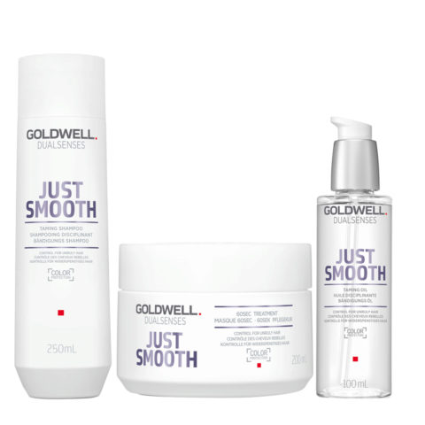 Goldwell Dualsenses Just Smooth Shampooing Disciplinant 250ml Masque 200ml Huile Disciplinante 100ml