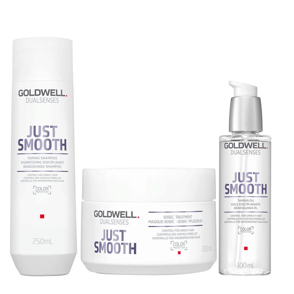 Goldwell Dualsenses Just Smooth Shampooing Disciplinant 250ml Masque 200ml Huile Disciplinante 100ml
