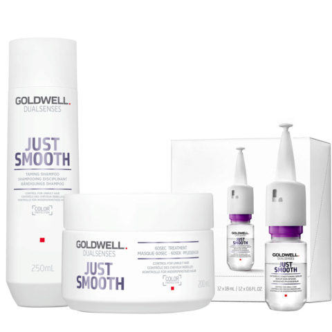 Goldwell Dualsenses Just Smooth Shampooing Disciplinant 250ml Masque 200ml Serum 12x18ml