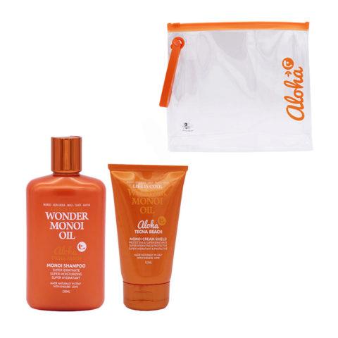 Tecna Beach Wonder Monoi kit Shampoo 250ml Cream Shield 125ml Pochette Cadeau
