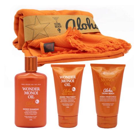 Tecna Beach Wonder Monoi kit Shampooing 250ml Masque 150ml Crème Protectrice Cheveux 125ml Serviette De Plage
