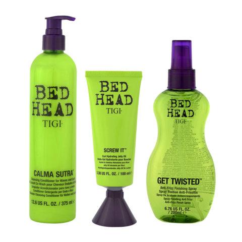 Tigi Bed Head Boucles Shampooinh hydratant 375ml Huile en Gel 100ml Antifrizz Spray 200ml