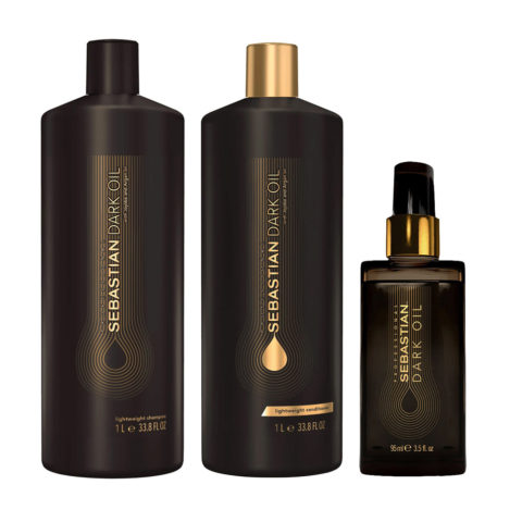 Sebastian Dark Oil Shampooing Hydratant Léger 1000ml Apres Shampooing 1000ml Huile 95ml