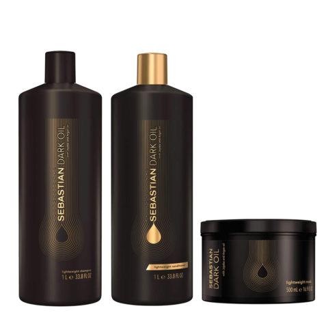 Sebastian Dark Oil Shampooing Hydratant Léger 1000ml Apres Shampooing 1000ml Masque 500ml