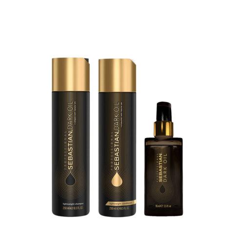 Sebastian Dark Oil Shampooing Hydratant Léger 250ml Apres Shampooing 250ml Huile 95ml