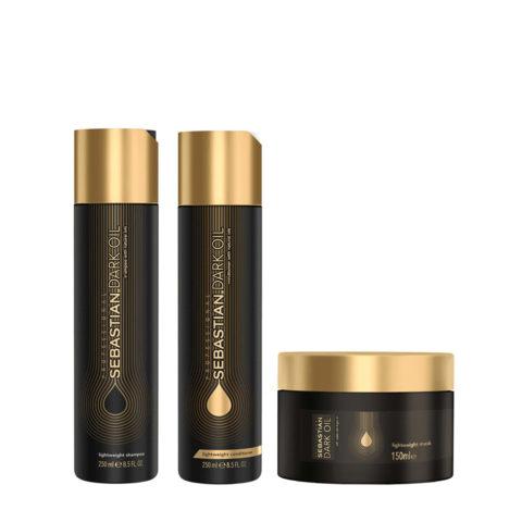 Sebastian Dark Oil Shampooing Hydratant Léger 250ml Apres Shampooing 250ml Masque 150ml