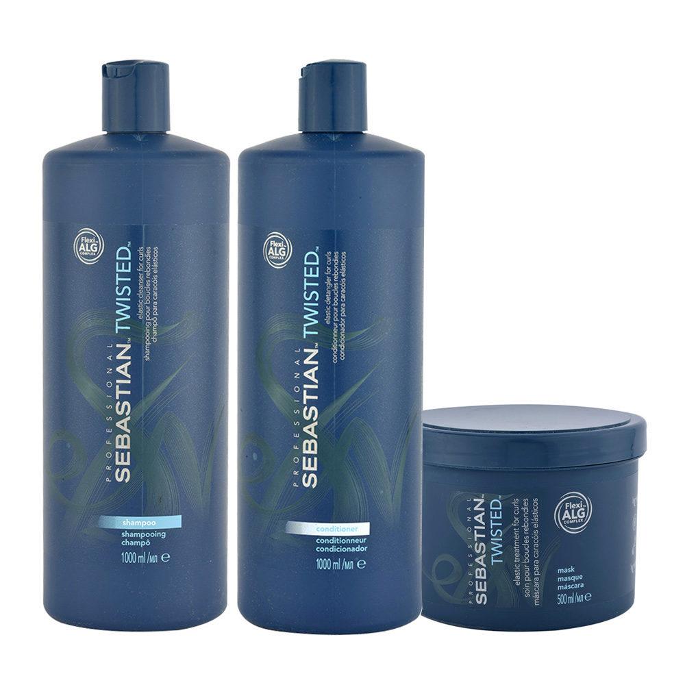 Sebastian Twisted Shampooing 1000ml Apres Shampooing 1000ml Masque 500ml Cheveux Boucles