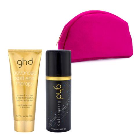 GHD Kit Split End Therapy 100ml Final Shine Spray 100ml et Pochette rose