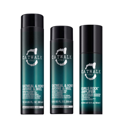 Tigi Catwalk Shampoo 300ml Apres Shampooing 250ml Curls Rock Amplifier 150ml