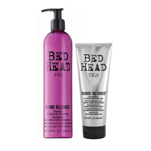 Tigi Bed Head Dumb Blonde Shampoo 400ml Apres Shampooing 200ml Cheveux traités blondes