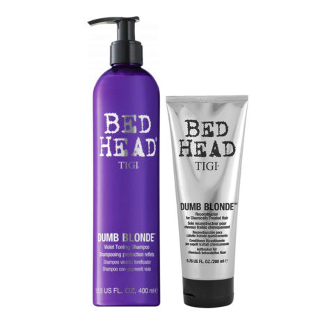Tigi Bed Head Dumb Blonde Violet Toning Shampoo 400ml Apres Shampooing 200ml Cheveux traités blondes