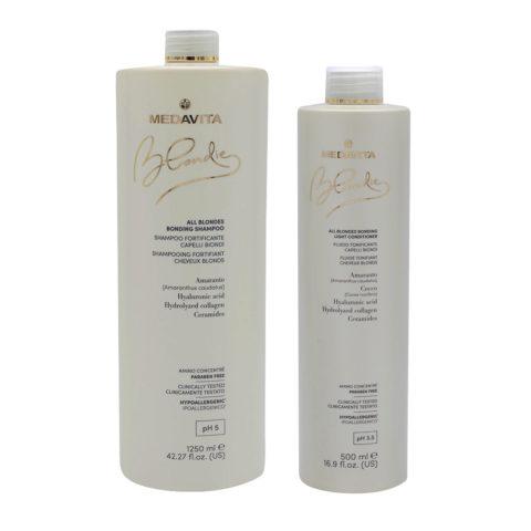 Medavita Blondie Shampooing 1250ml Et Baume 500 Pour Cheveux Blonds