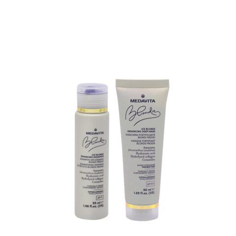 Medavita Blondie Ice Shampooing Illuminateur 55ml Et Masque 50ml Blond Froid