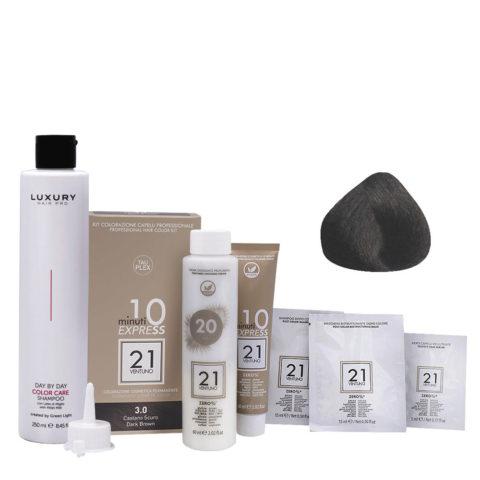 21 Ventuno Kit Couleur Professionnel 3.0 Marron Foncé + Shampooing Gratis 250ml